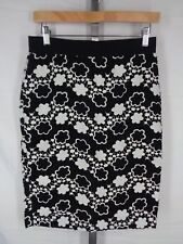 Ann Taylor Floral Crochet Eyelet Skirt Size 4 Black White Straight Pencil