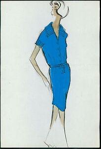 PIERRE BALMAIN Original drawing old Fashion Scketch ART COUTURE Paris unsign 11