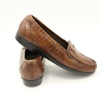 SAS Womens Loafers Leather Tripad Comfort Slip On Brown Shoes Size 8 W US