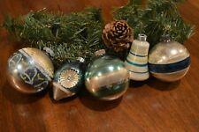 Vintage Glass Christmas Ornaments Balls Bell Indent STRIPE Silver Blue Green USA
