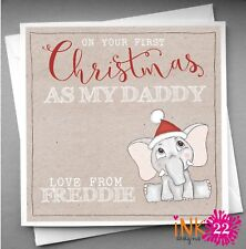 Personalised Handmade Daddy's First 1st Christmas Card Cute Elephant Any Name