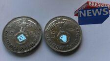 SILBER - 2x 5 Reichsmark Hindenburg mit HK 1936 Orginal WW2 NAZISILBER WtF?! 900