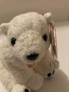 TY Beanie Baby Aurora the White Polar Bear MWMT Stuffed Animal Toy New Retired
