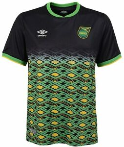 Umbro Men's Jamaica National Team Away Soccer Jersey, Black/Yellow/Green