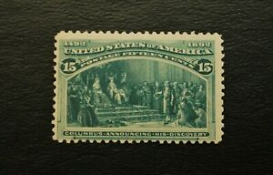 US Stamp Scott #238 15c Green, Mint F-VF, Very Light Hinge Mark Gorgeous Color