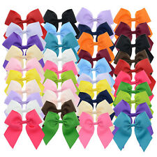 Solid Color Grosgrain Cheer Bow Hair Clip for Girls Teens 40Pcs 4""