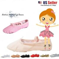 Nexete Canvas Leather Ballet Dance Slipper Shoes For Toddler  Kids & Girl