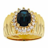 14k Yellow Gold 0.36ctw Sapphire & Diamond Cluster Scalloped Ring Size 7
