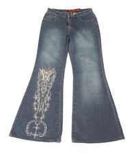FACE OFF Womens Blue Denim Jeans Flared Faded with Eyelet Butterfly Design W 26