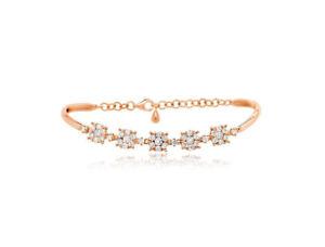 14K Rose Gold Diamond Cluster Bracelet Bangle Adjustable Womens Round Natural