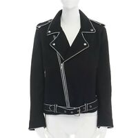 ASHISH black wool silver reflective trimming oversized zip up biker jacket XS