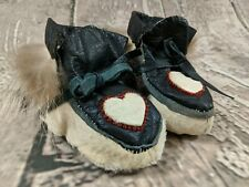 NEW Vintage Handmade Native American Style Leather Fur Moccasins Baby Beading