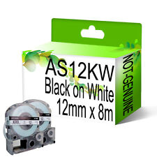 2 x Compatible AS12KW Black on White NON-OEM For Epson Label Tapes 12mm x 8m