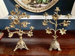 A Near Pair Of Huge Antique Gilt French Candelabra, C.1890