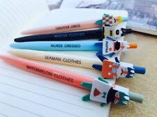 5PCS Kawaii Blue Ball Pen 0.5mm Korean Style Stationery Gift Funny Clothes Set