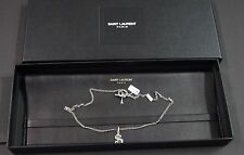 SAINT LAURENT Men Dollar Sign Sterling Silver Necklace NEW NWB