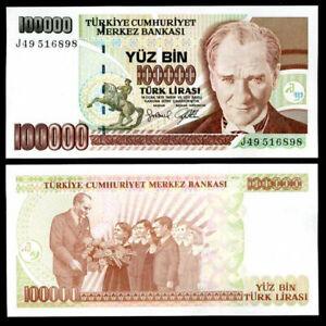 TURKEY 100000 LIRASI LIRA 1997 P 206 UNC LOT 5 PCS