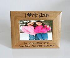 Sister Photo Frame - I heart-Love My Sister 6 x 4 Photo Frame - Free Engraving
