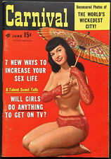 BETTIE PAGE TOPLESS COVER CARNIVAL Magazine June 1956 Brigitte Bardot Miss Torso