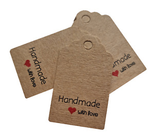 Jewellery Display Gift Tag Labels Handmade With Love 5cm x 3cm Kraft Brown
