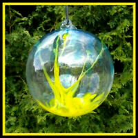 "Hanging Glass Ball 6"" Diameter Yellow & Aqua Tree Witch Ball (1) #27"