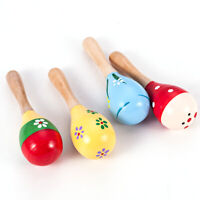 Child Musical Instrument Rattle Shaker Party Toy Multi Color Wooden Maraca Gift