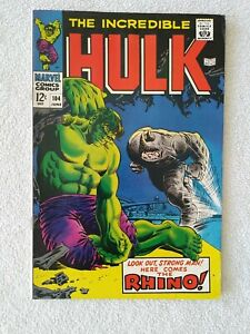 THE INCREDIBLE HULK #104 JUNE 1968 - Here Comes the RHINO! - GREAT FIND!