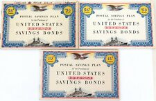 . 3 x WW2 UNITED STATES DEFENSE SAVINGS BONDS BOOKLETS, 2 WITH some STAMPS.