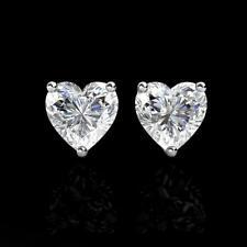1Ct Created Diamond Heart Solid 14K White Gold Stud Screw-Back Earrings