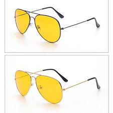Yellow Lens Glasses Vintage Geek Retro Aviator Style Night Driving Sunglasses #1
