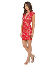 Aidan Mattox  Red Nude Stretch Lace Cocktail Dress OPEN BACK Sz 6 NWT$190