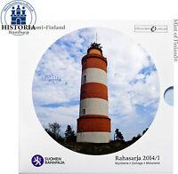 Finnland 3,88 Euro 2014 /I stgl. KMS 1 Cent- 2 Euro im Folder Isokari Leuchtturm