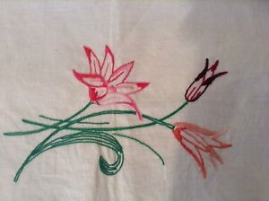Vintage French Floral Embroidery - Flowers on Linen - Upcycle Cushion (2414a)