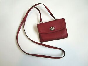 COACH Writstlet Crossbody Small Envelope Design Burgundy Red Leather Hang Tag