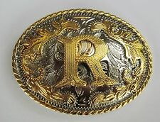 """INITIAL """" R """"  RODEO COWBOY LETTER SHINE GOLD SILVER WESTERN BELT BUCKLE"""