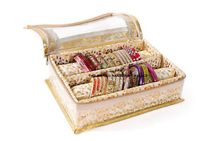 Indian Quilted Brocade Fabric Precious Bangle Jewellery Storage Box 2 Section