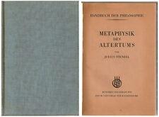 Julius Stenzel metafísica de la antigüedad 1931 Antik artículo de colección