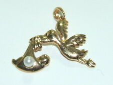 Solid 10K Gold Stork with Baby Charm for Necklace CUTE!
