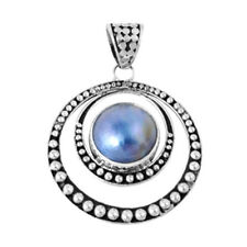 Eccentric Pendant with Mabe Pearl Sterling Silver 925 Created Stone Jewelry Gift