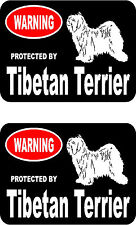 2 protected by Tibetan Terrier dog car bumper home window vinyl decals stickers