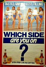 "Vintage Sexy Girl MILLER LITE Beer Poster 36"" x 24"" ""Which Side Are You On?"""