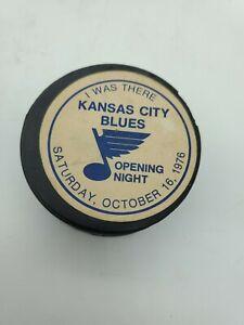 VINTAGE 1976 KANSAS CITY BLUES OPENING NIGHT CHL HOCKEY PUCK CANADA