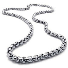 "MEN 2MM Silver 20"" Stainless Steel Pearl Box Chain Necklace Fashion Pendant Cool"
