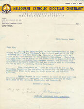 Melbourne Catholic Diocesan Centenary 1948 letter re tickets by J McNamara