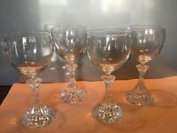 Mikasa Crystal The Ritz Wine Goblets Glasses - 6 1/2 inches tall - set of 4