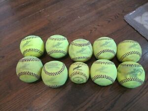 "9-Easton® SoftStitch™ IncrediBall® Yellow 12"" Training Balls & 1 Softouch 10"""