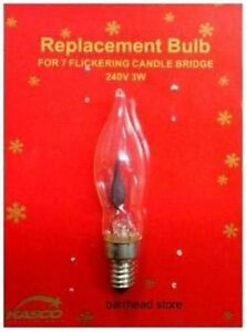 WOODEN CANDLE ARCH BRIDGE LIGHT REPLACEMENT SPARE FLICKERING BULB 240V 3W E10