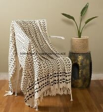 Hand Block Cotton Home Decorative Sofa Bed Tassel Throw Blanket Women Wrap Shawl