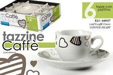 SET 6 TAZZINE CAFFE' CON PIATTINO IN PORCELLANA DECORATE CUORE ELI-640117