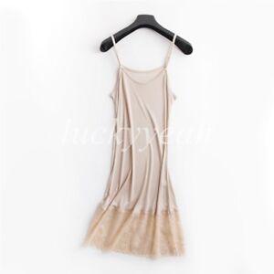 Silk Full Slip Petticoat Pajamas Spaghetti Chemise Night Under Dress Nightgown